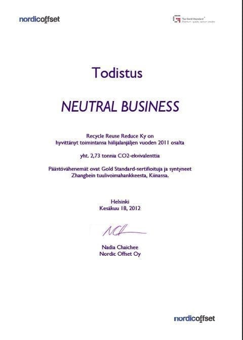 Todistus Neutral Business 2011